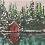 Snowy Cabin Reflection