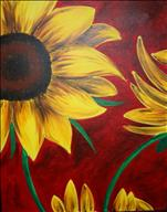 Coffee and Canvas: Sunflower on Red