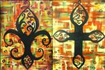 Fall Cross and Fall Fleur de Lis