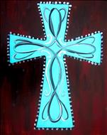 """Turquoise Scroll Cross"""