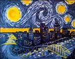 Pittsburgh Black and Gold Starry Night