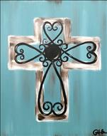 Texas Turquoise Heart Scroll Cross