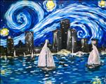 Starry Night Sailing the Detroit River