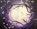 Vibrant Moonlit Cherry Blossoms