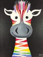 OPEN CLASS ~ Colorful Zebra! Only $25 (7+)
