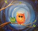Kids Camp~1 Day FUN ART- Painterly Owls LED Canvas