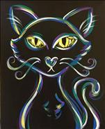 Neon Kitty! Kids Class Ages 6+ Glow Paint!