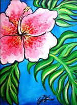 Pink Hibiscus on Blue
