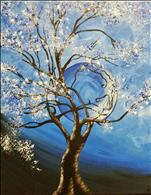 Harvest Moon in Blue on Canvas