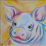 SQUARE CANVAS:  Portly Pig