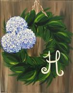 Hydrangea Monogram Wreath ADULTS ONLY