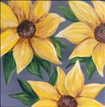 12x12 Canvas! Sunflower on Gray