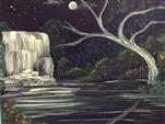 NEW ART! - Waterfall by the Moon