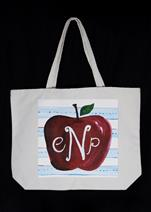 NEW CANVAS TOTE BAG! - Teacher's Apple Monogram