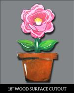 Camelia Flower on wood cutout - Family FUN @ $25
