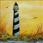 SQUARE CANVAS-Sunshine on a Lighthouse